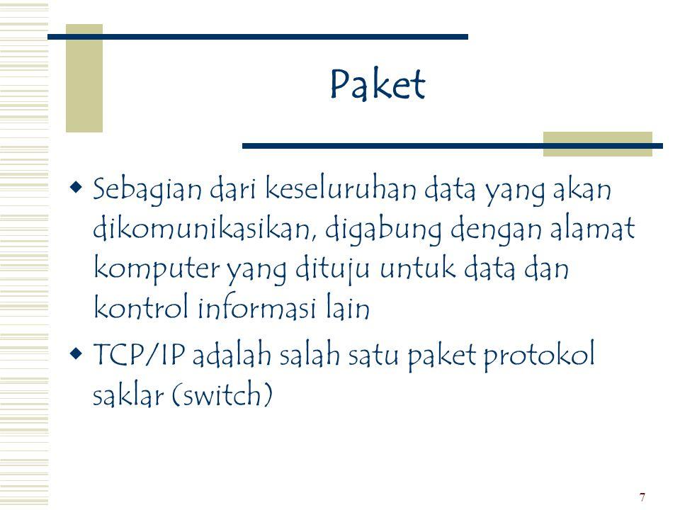 8 Alamat Jaringan  Alamat  Serangkaian nomor yang terdiri dari empat bagian  Masing-masing bagian bernilai dari 0 – 255  Penyedia Jasa Internet (ISP)  User berhubungan melalui carrier umum  Protokol Internet Jalur Seri (SLIP) dan Protokol Point-kePoint (PPP)  Protokol untuk user di rumah