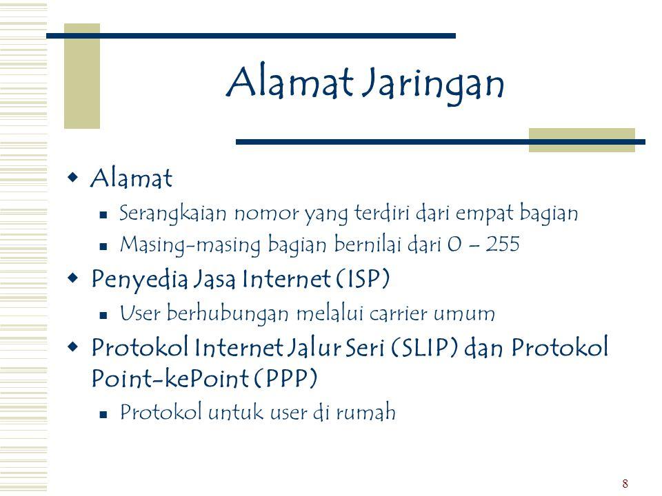 9 Protokol untuk Sistem Telepon Publik  X.25  Analog  Protokol lama  Layanan Jaringan Digital yang Terintegrasi (ISDN)  Digital  Dapat menyampaikan suara, data, dan gambar