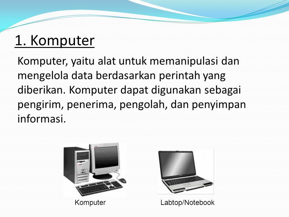 Peralatan Teknologi Informasi dan Komunikasi 1. Komputer: 2. Faximile (Fax) 3. Radio 4. Televisi 5. LCD (Liquid Crystal Display) Proyektor 6. Internet