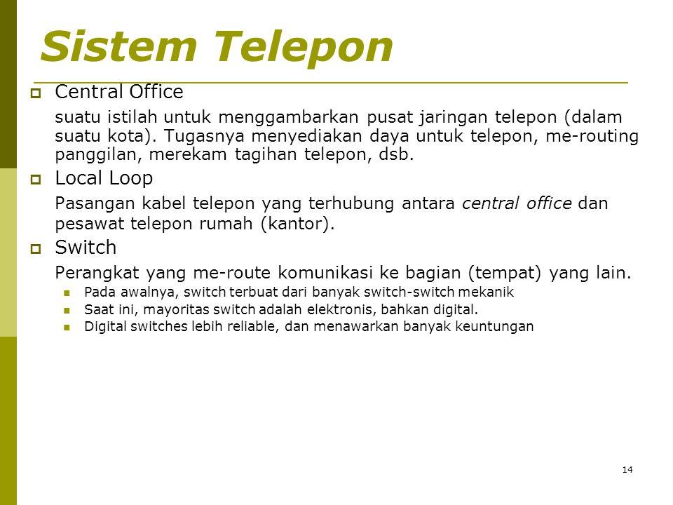 14 Sistem Telepon  Central Office suatu istilah untuk menggambarkan pusat jaringan telepon (dalam suatu kota). Tugasnya menyediakan daya untuk telepo