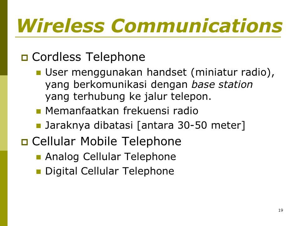 19 Wireless Communications  Cordless Telephone  User menggunakan handset (miniatur radio), yang berkomunikasi dengan base station yang terhubung ke