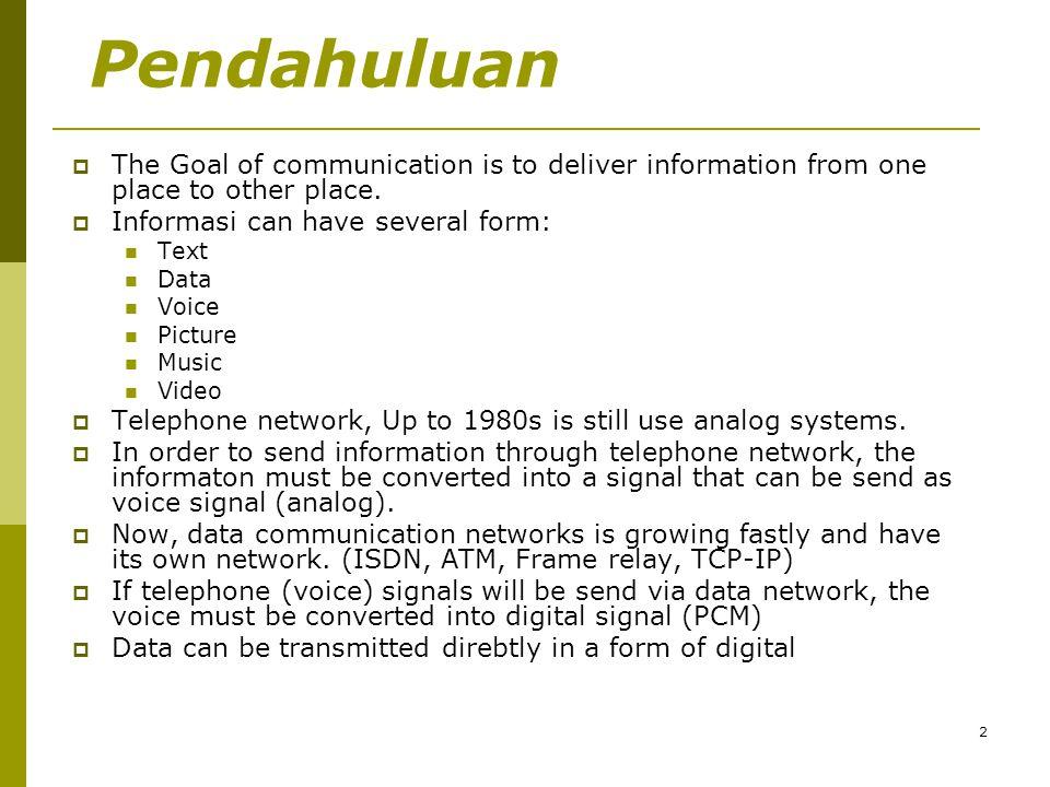 3 Ragam transmisi : Broadband VS Baseband  Broadband :  Informasi ditransmisikan bukan pada rentang frekuensi aslinya (tetapi dimodulasi)  Suatu teknik di mana data yang ditransmisi dikirimkan menggunakan isyarat pembawa (dimodulasi).
