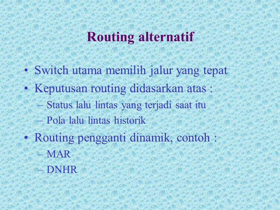 Routing alternatif •Switch utama memilih jalur yang tepat •Keputusan routing didasarkan atas : –Status lalu lintas yang terjadi saat itu –Pola lalu li