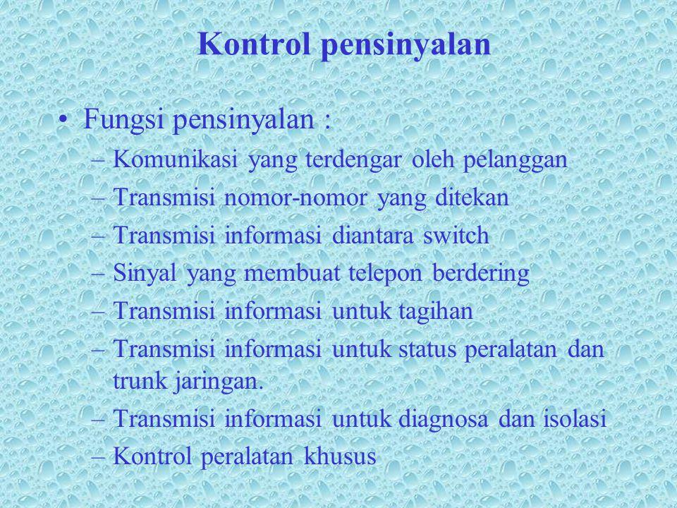 Kontrol pensinyalan •Fungsi pensinyalan : –Komunikasi yang terdengar oleh pelanggan –Transmisi nomor-nomor yang ditekan –Transmisi informasi diantara