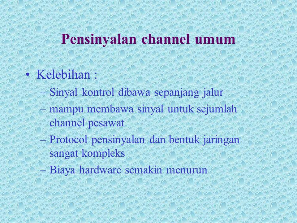 Pensinyalan channel umum •Kelebihan : –Sinyal kontrol dibawa sepanjang jalur –mampu membawa sinyal untuk sejumlah channel pesawat –Protocol pensinyala