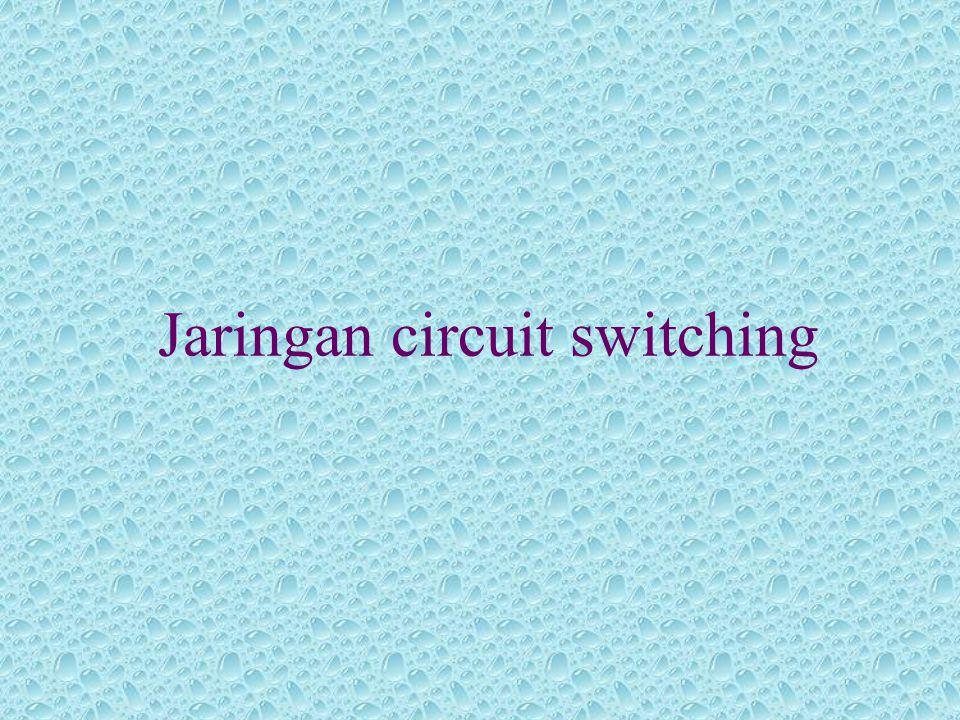 3 tahap komunikasi circuit switching •Pembangunan sirkuit •Transfer Data *Data yang dapat dibawa *Full duplex *Jalur :  Jalur 4  Channel 4-5  Channel 5-6  Jalur 6-E •Diskoneksi sirkuit
