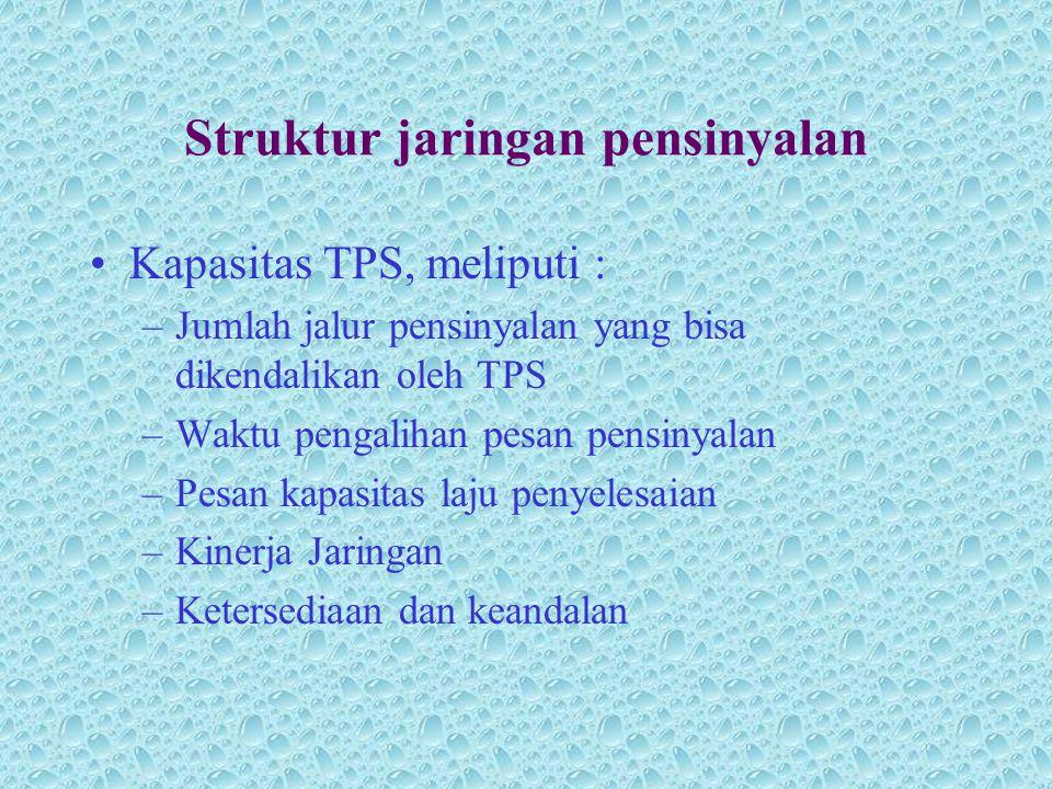 Struktur jaringan pensinyalan •Kapasitas TPS, meliputi : –Jumlah jalur pensinyalan yang bisa dikendalikan oleh TPS –Waktu pengalihan pesan pensinyalan