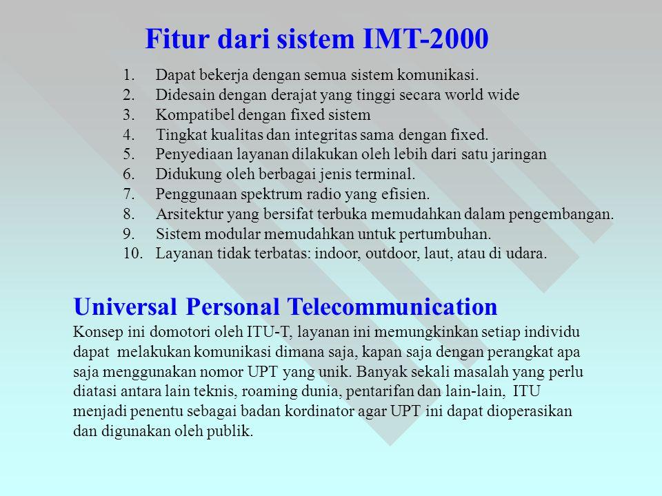 Fitur dari sistem IMT-2000 1.Dapat bekerja dengan semua sistem komunikasi. 2.Didesain dengan derajat yang tinggi secara world wide 3.Kompatibel dengan