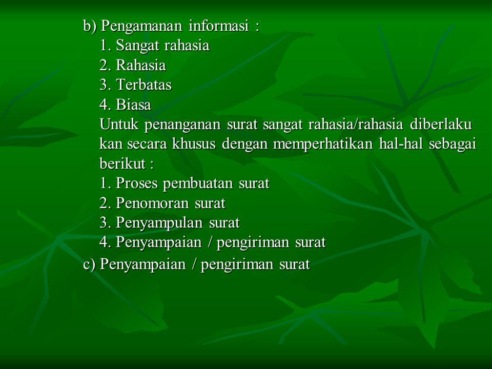 b) Pengamanan informasi : b) Pengamanan informasi : 1. Sangat rahasia 1. Sangat rahasia 2. Rahasia 2. Rahasia 3. Terbatas 3. Terbatas 4. Biasa 4. Bias