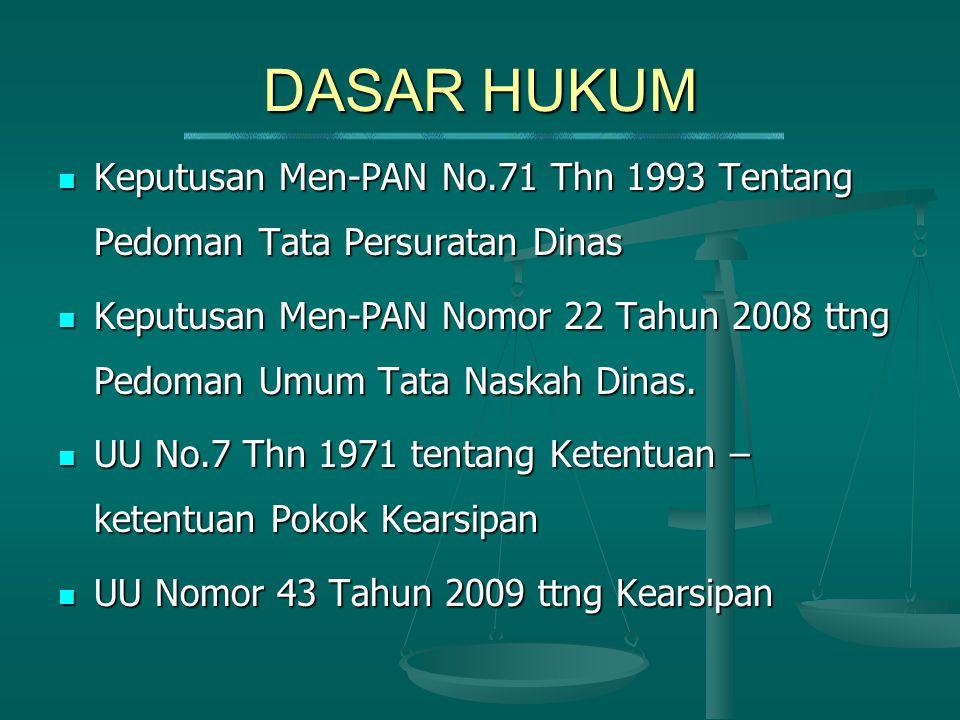  Keputusan Men-PAN No.71 Thn 1993 Tentang Pedoman Tata Persuratan Dinas  Keputusan Men-PAN Nomor 22 Tahun 2008 ttng Pedoman Umum Tata Naskah Dinas.