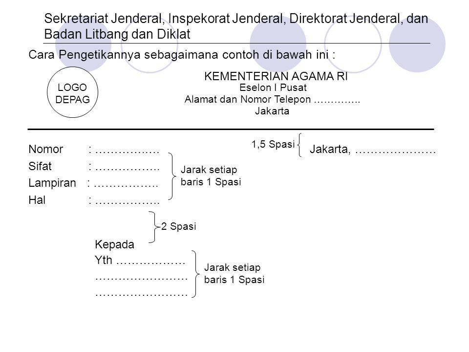 Cara Pengetikannya sebagaimana contoh di bawah ini : Nomor : …………..…Jakarta, ………………… Sifat : …………….. Lampiran : …………….. Hal : …………….. Kepada Yth ……………