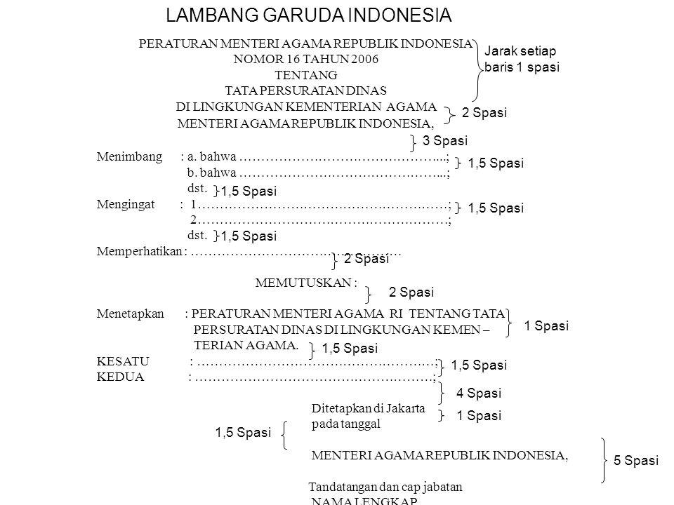 PERATURAN MENTERI AGAMA REPUBLIK INDONESIA NOMOR 16 TAHUN 2006 TENTANG TATA PERSURATAN DINAS DI LINGKUNGAN KEMENTERIAN AGAMA MENTERI AGAMA REPUBLIK IN