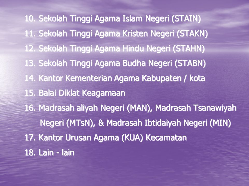 10. Sekolah Tinggi Agama Islam Negeri (STAIN) 11. Sekolah Tinggi Agama Kristen Negeri (STAKN) 12. Sekolah Tinggi Agama Hindu Negeri (STAHN) 13. Sekola