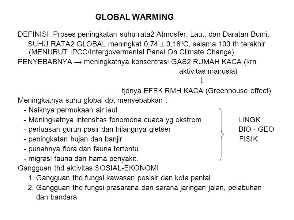 GLOBAL WARMING DEFINISI: Proses peningkatan suhu rata2 Atmosfer, Laut, dan Daratan Bumi. SUHU RATA2 GLOBAL meningkat 0,74 ± 0,18 0 C, selama 100 th te