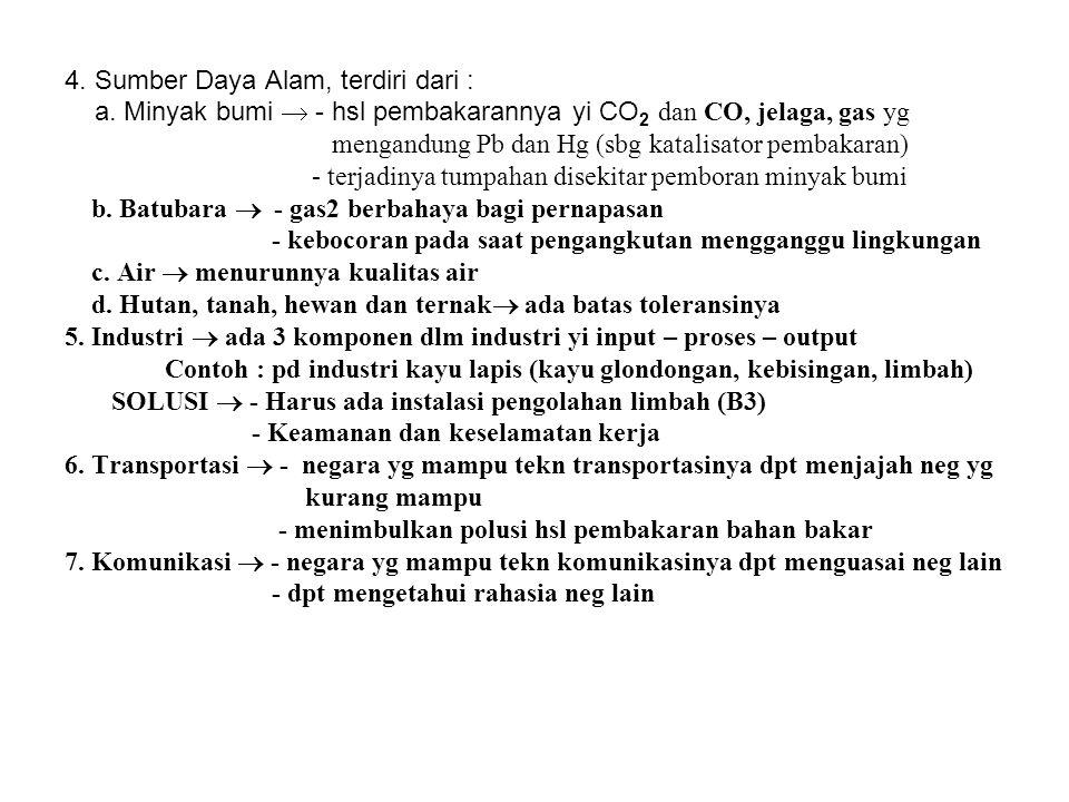 4. Sumber Daya Alam, terdiri dari : a. Minyak bumi  - hsl pembakarannya yi CO 2 dan CO, jelaga, gas yg mengandung Pb dan Hg (sbg katalisator pembakar