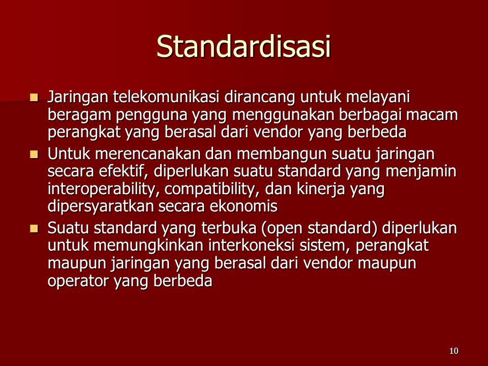 10 Standardisasi  Jaringan telekomunikasi dirancang untuk melayani beragam pengguna yang menggunakan berbagai macam perangkat yang berasal dari vendo