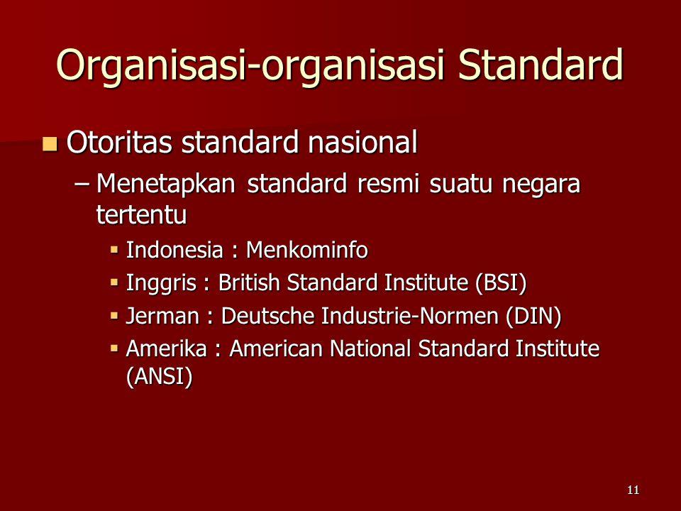 11 Organisasi-organisasi Standard  Otoritas standard nasional –Menetapkan standard resmi suatu negara tertentu  Indonesia : Menkominfo  Inggris : B