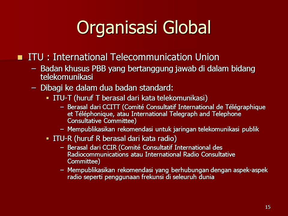 15 Organisasi Global  ITU : International Telecommunication Union –Badan khusus PBB yang bertanggung jawab di dalam bidang telekomunikasi –Dibagi ke