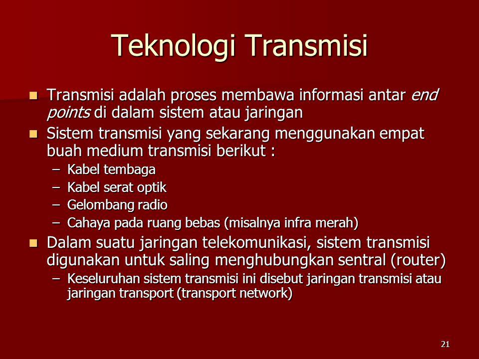 21 Teknologi Transmisi  Transmisi adalah proses membawa informasi antar end points di dalam sistem atau jaringan  Sistem transmisi yang sekarang men