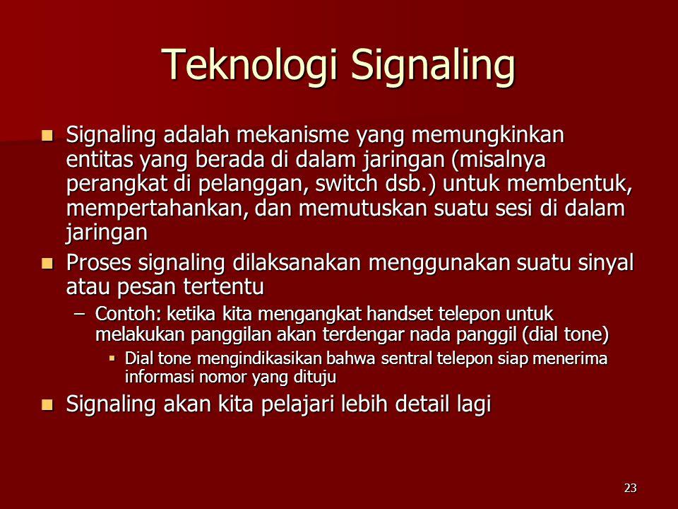 23 Teknologi Signaling  Signaling adalah mekanisme yang memungkinkan entitas yang berada di dalam jaringan (misalnya perangkat di pelanggan, switch d