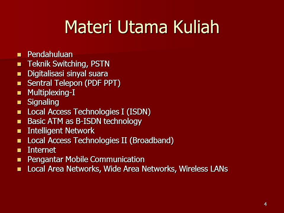 4 Materi Utama Kuliah  Pendahuluan  Teknik Switching, PSTN  Digitalisasi sinyal suara  Sentral Telepon (PDF PPT)  Multiplexing-I  Signaling  Lo