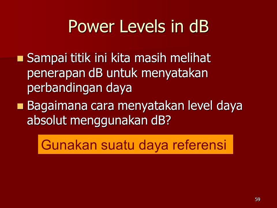 59 Power Levels in dB  Sampai titik ini kita masih melihat penerapan dB untuk menyatakan perbandingan daya  Bagaimana cara menyatakan level daya abs