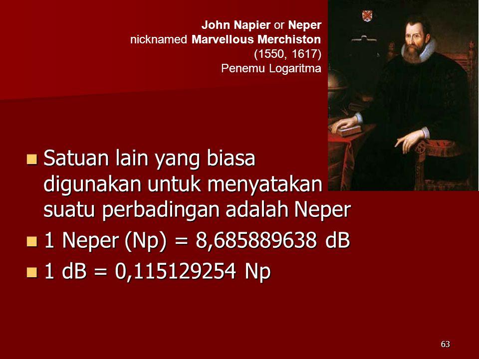 63  Satuan lain yang biasa digunakan untuk menyatakan suatu perbadingan adalah Neper  1 Neper (Np) = 8,685889638 dB  1 dB = 0,115129254 Np John Nap