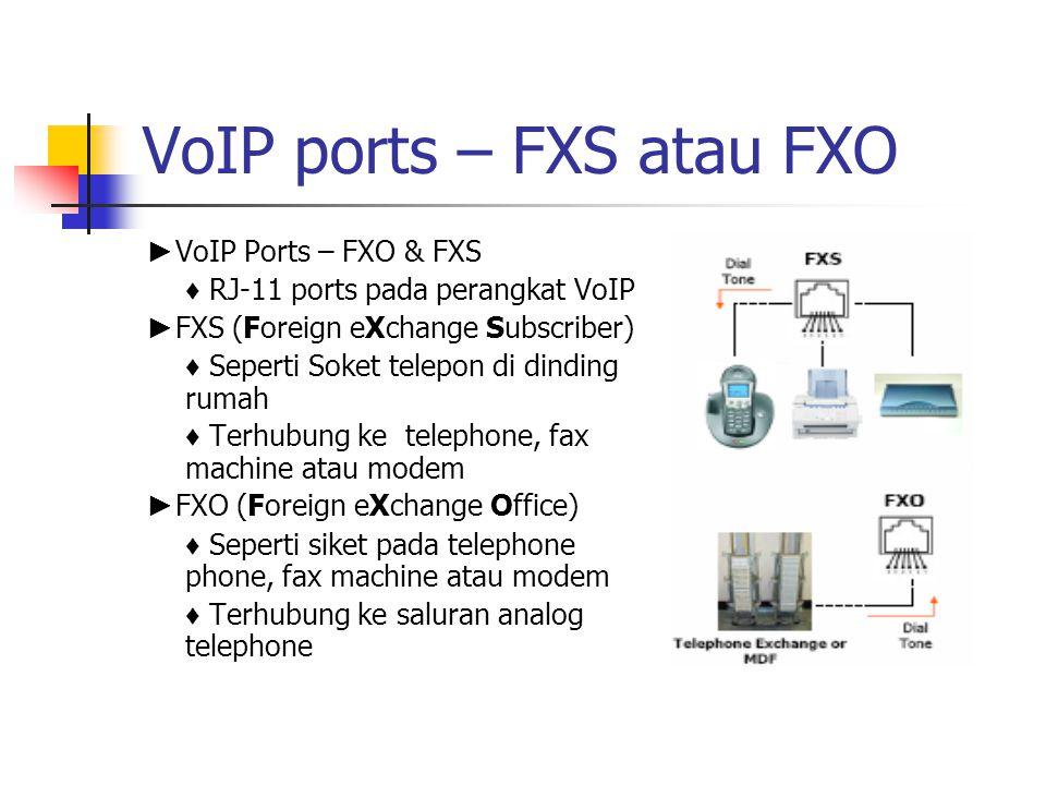 VoIP ports – FXS atau FXO ► VoIP Ports – FXO & FXS ♦ RJ-11 ports pada perangkat VoIP ► FXS (Foreign eXchange Subscriber) ♦ Seperti Soket telepon di di