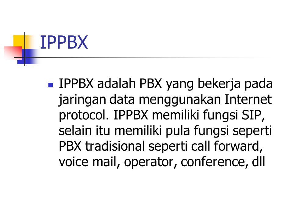 IPPBX  IPPBX adalah PBX yang bekerja pada jaringan data menggunakan Internet protocol. IPPBX memiliki fungsi SIP, selain itu memiliki pula fungsi sep