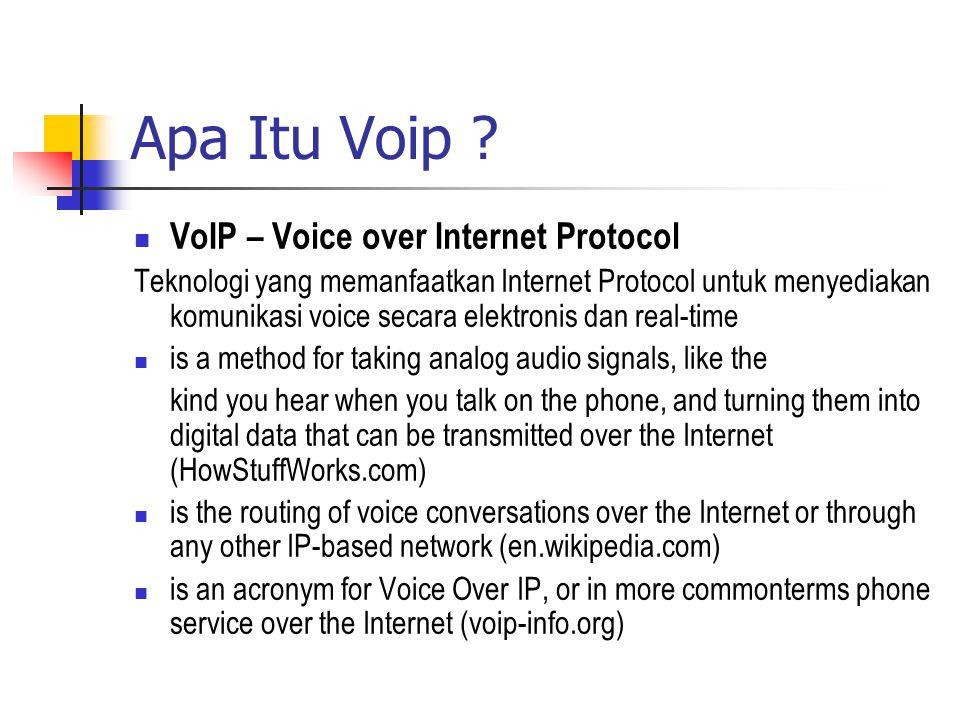 Apa Itu Voip ?  VoIP – Voice over Internet Protocol Teknologi yang memanfaatkan Internet Protocol untuk menyediakan komunikasi voice secara elektroni