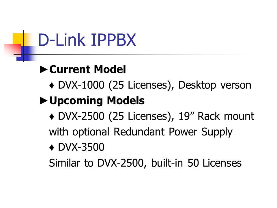 """D-Link IPPBX ► Current Model ♦ DVX-1000 (25 Licenses), Desktop verson ► Upcoming Models ♦ DVX-2500 (25 Licenses), 19"""" Rack mount with optional Redunda"""