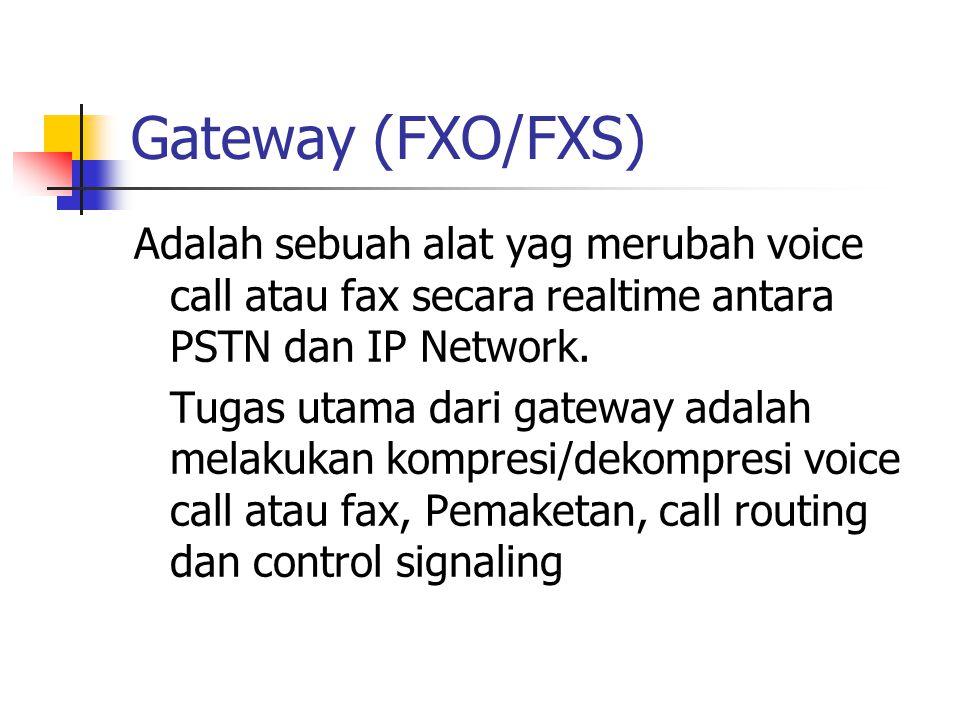Gateway (FXO/FXS) Adalah sebuah alat yag merubah voice call atau fax secara realtime antara PSTN dan IP Network. Tugas utama dari gateway adalah melak