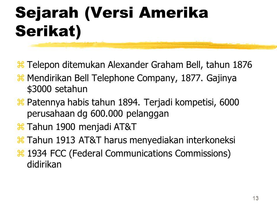 13 Sejarah (Versi Amerika Serikat) zTelepon ditemukan Alexander Graham Bell, tahun 1876 zMendirikan Bell Telephone Company, 1877. Gajinya $3000 setahu