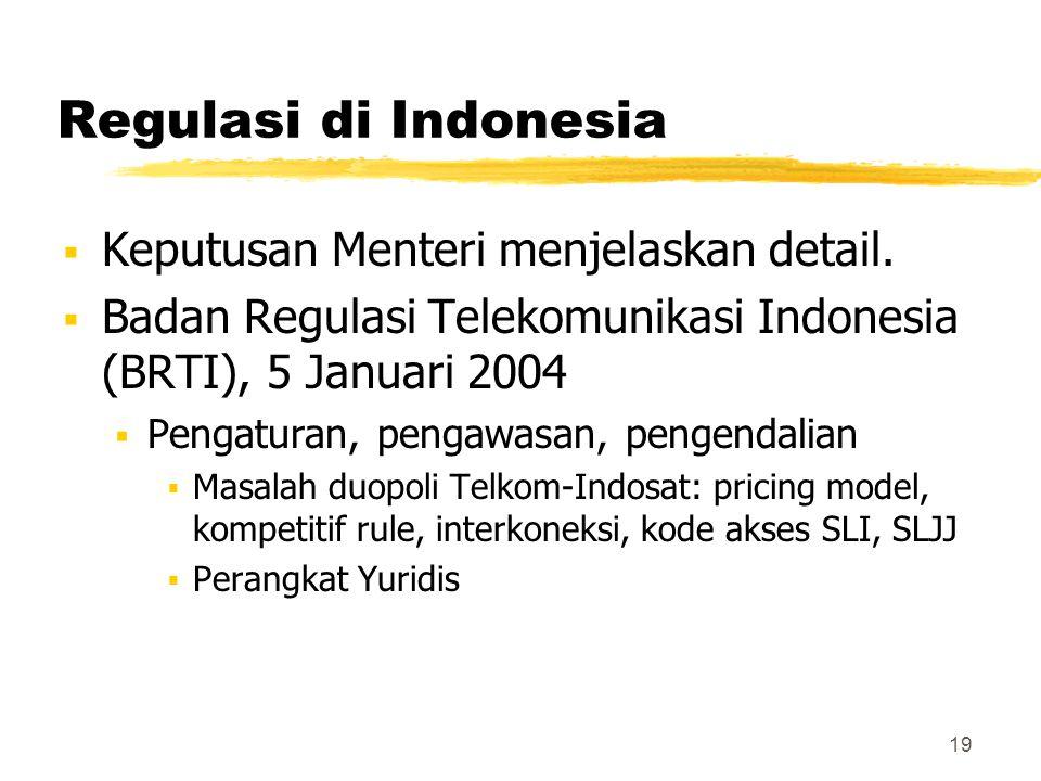 19 Regulasi di Indonesia  Keputusan Menteri menjelaskan detail.  Badan Regulasi Telekomunikasi Indonesia (BRTI), 5 Januari 2004  Pengaturan, pengaw