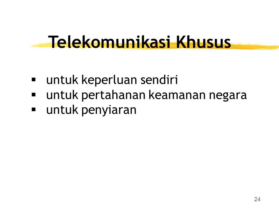 24 Telekomunikasi Khusus  untuk keperluan sendiri  untuk pertahanan keamanan negara  untuk penyiaran