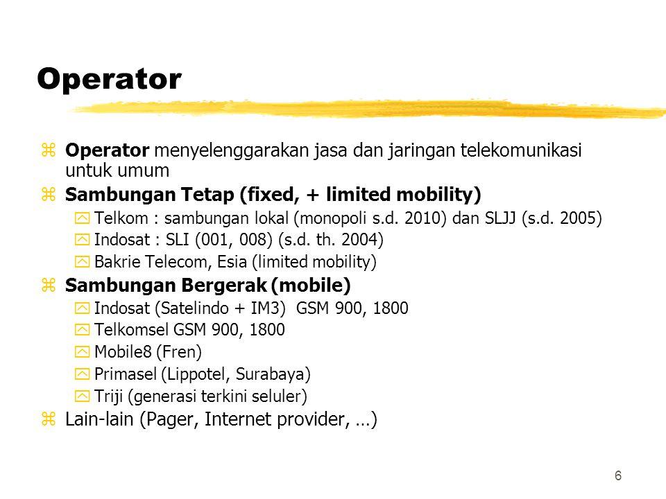 6 Operator zOperator menyelenggarakan jasa dan jaringan telekomunikasi untuk umum zSambungan Tetap (fixed, + limited mobility) yTelkom : sambungan lok