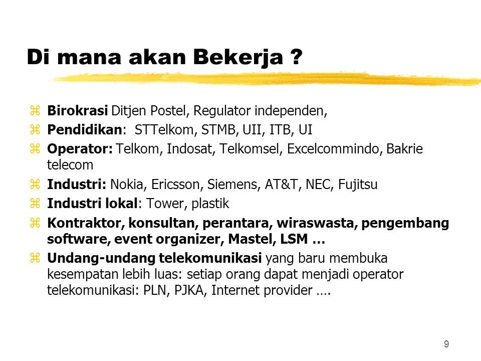 9 Di mana akan Bekerja ? zBirokrasi Ditjen Postel, Regulator independen, zPendidikan: STTelkom, STMB, UII, ITB, UI zOperator: Telkom, Indosat, Telkoms