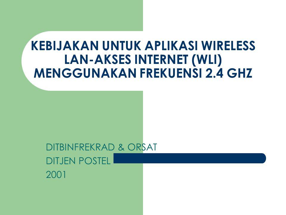KONDISI EKSTISTING di Lapangan Aplikasi indoor berkembang menjadi outdoor link - link microwave eksisting frekuensi 2300-2500 MHz (rec.ITU F.746 Annex 2) 62 link di Jabotabek (pemetaan terlampir) 190 link Jawa Barat dan Di daerah2 lain Operator2 WLI 2.4 ilegal di Jawa barat, Jogya, Surabaya, Medan.