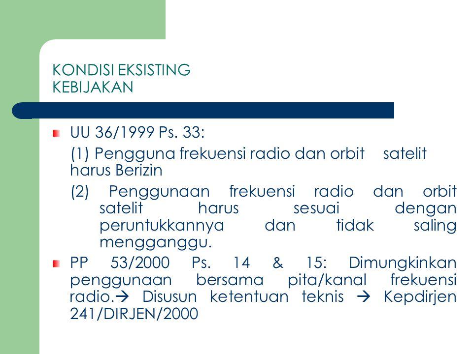 KONDISI EKSISTING KEBIJAKAN (SAMBUNGAN) Sesuai UU Telekomunikasi NO.36/99  Pengguna spektrum frekeunsi radio wajib membayar biaya hak penggunaan frekuensi Sesuai PP 14/2000 dan KM 45/2000  dikenakan BHP frekuensi untuk penggunaan 'wireless data'