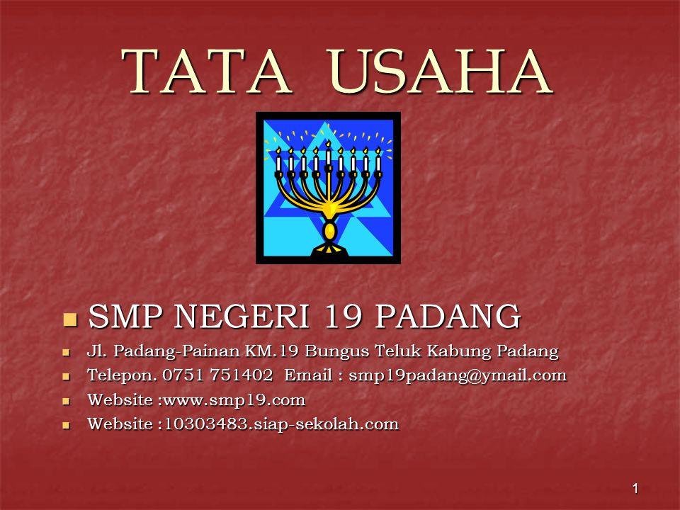 1 TATA USAHA  SMP NEGERI 19 PADANG  Jl.Padang-Painan KM.19 Bungus Teluk Kabung Padang  Telepon.