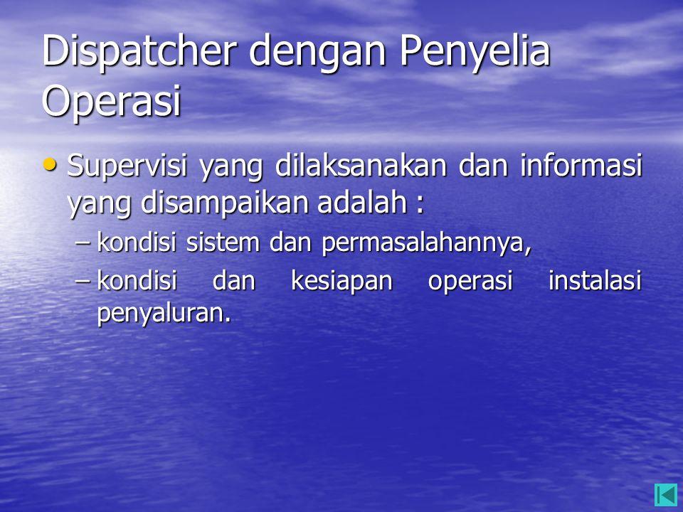 Dispatcher dengan Penyelia Operasi • Supervisi yang dilaksanakan dan informasi yang disampaikan adalah : –kondisi sistem dan permasalahannya, –kondisi