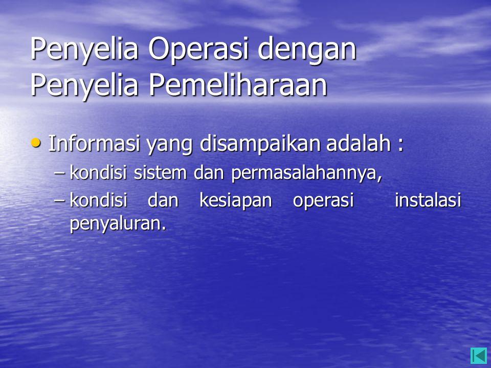 Penyelia Operasi dengan Penyelia Pemeliharaan • Informasi yang disampaikan adalah : –kondisi sistem dan permasalahannya, –kondisi dan kesiapan operasi