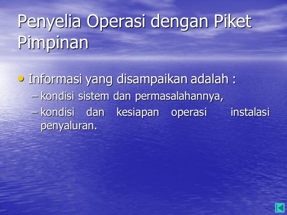 Penyelia Operasi dengan Piket Pimpinan • Informasi yang disampaikan adalah : –kondisi sistem dan permasalahannya, –kondisi dan kesiapan operasi instal