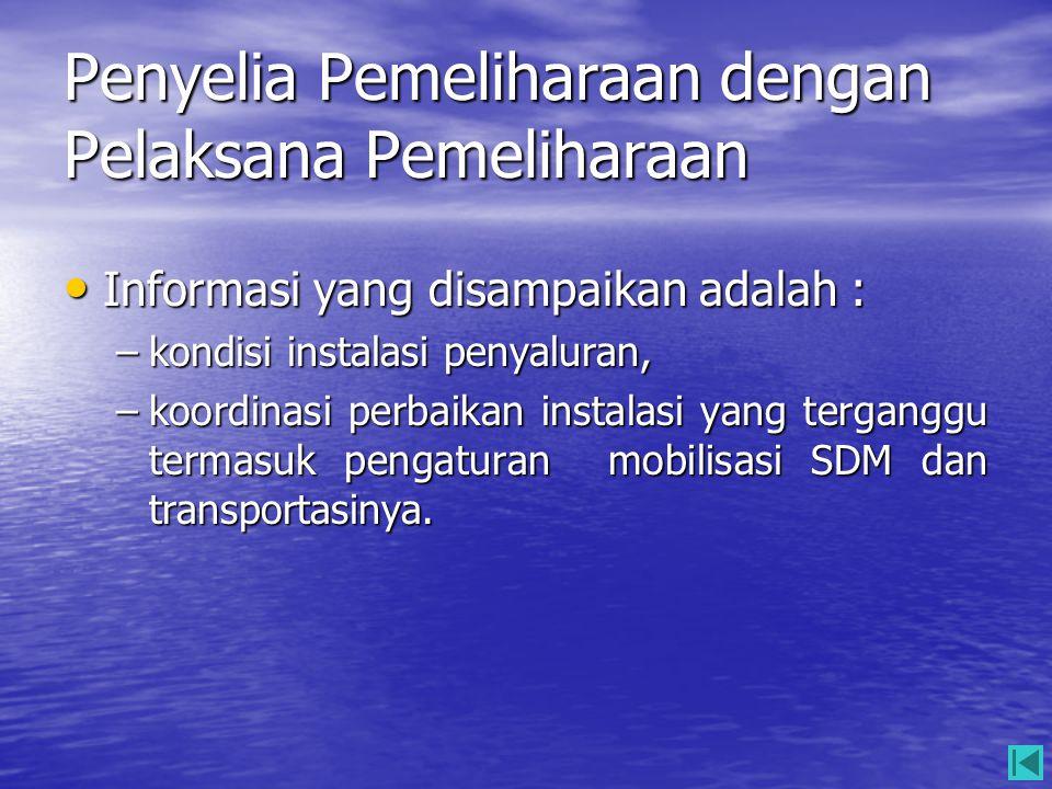 Penyelia Pemeliharaan dengan Pelaksana Pemeliharaan • Informasi yang disampaikan adalah : –kondisi instalasi penyaluran, –koordinasi perbaikan instala