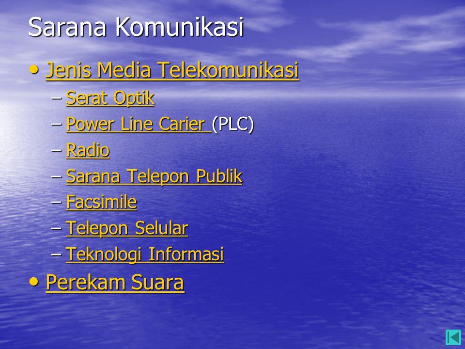 Sarana Komunikasi • Jenis Media Telekomunikasi Jenis Media Telekomunikasi Jenis Media Telekomunikasi –Serat Optik Serat OptikSerat Optik –Power Line C