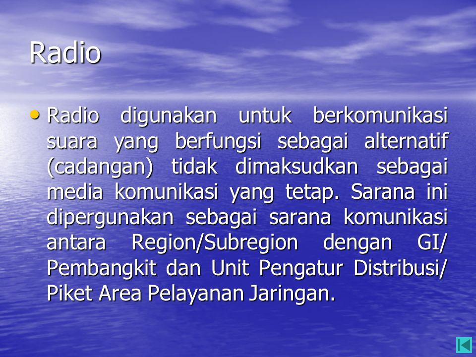 Radio • Radio digunakan untuk berkomunikasi suara yang berfungsi sebagai alternatif (cadangan) tidak dimaksudkan sebagai media komunikasi yang tetap.