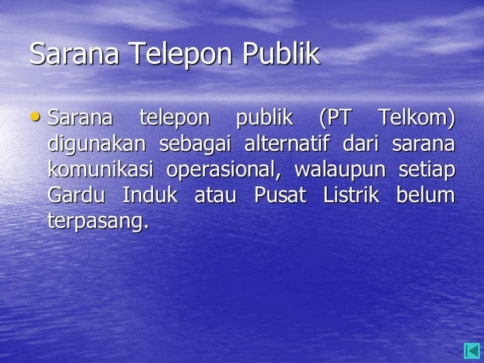 Sarana Telepon Publik • Sarana telepon publik (PT Telkom) digunakan sebagai alternatif dari sarana komunikasi operasional, walaupun setiap Gardu Induk