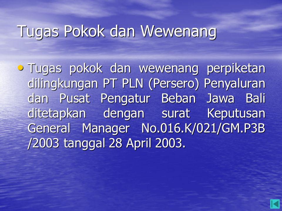 Tugas Pokok dan Wewenang • Tugas pokok dan wewenang perpiketan dilingkungan PT PLN (Persero) Penyaluran dan Pusat Pengatur Beban Jawa Bali ditetapkan