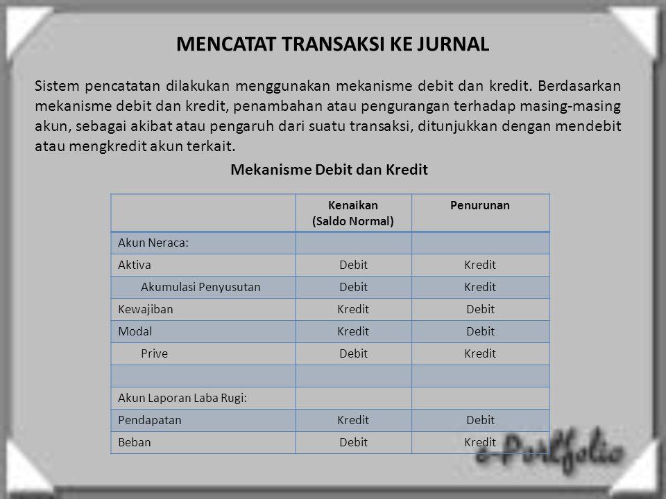 MENCATAT TRANSAKSI KE JURNAL Sistem pencatatan dilakukan menggunakan mekanisme debit dan kredit. Berdasarkan mekanisme debit dan kredit, penambahan at