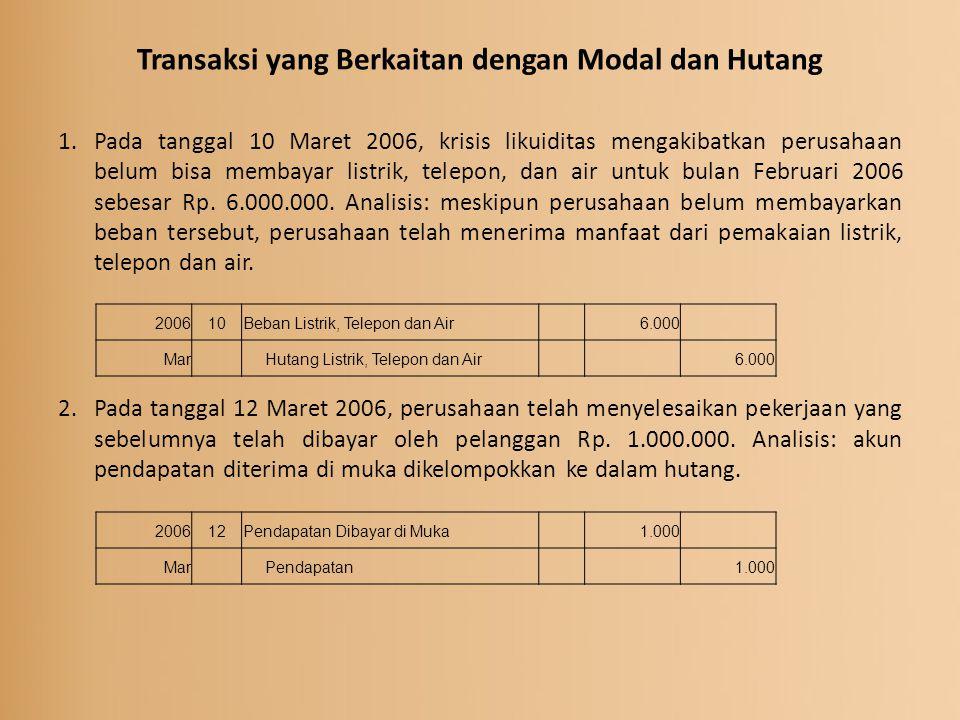 Transaksi yang Berkaitan dengan Modal dan Hutang 1.Pada tanggal 10 Maret 2006, krisis likuiditas mengakibatkan perusahaan belum bisa membayar listrik,